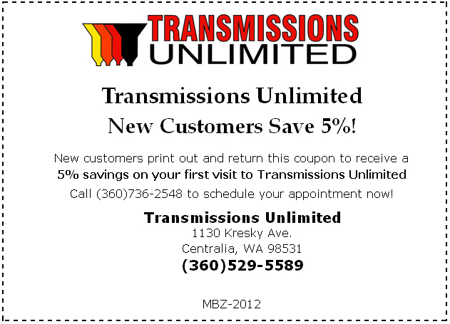 Transmissions Unlimited Special Offer Coupon
